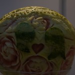 Carving w arbuzie - motyw ślubny