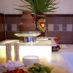 Fontanna czekoladowa i palma owocowa na podświetlanych podestach, fontanna alkoholowa, carving