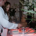 Goście weselni przy fontannie z czekolady