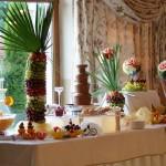 Fontanna z drinkiem i fontanna z czekoladą, owocowy stół i palmy z owoców