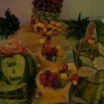 Carving ślubny - młodzi i róża w arbuzie, koszyk z arbuza