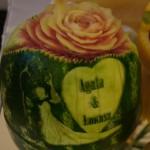 Carving - Młoda Para i róża w arbuzie
