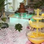 Fontanna alkoholowa i fontanna czekoladowa na weselu