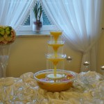 Fontanna z drinkiem i carving - motyl w arbuzie
