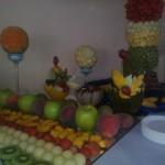 Dekoracyjnie wycięte owoce, carving, stół owocowy