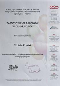 Certyfikat I stopień dekoracje balonowe