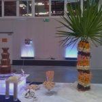 Fontanna z mleczną czekoladą i palma owocowa