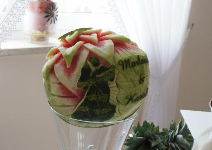 Dekoracja ślubna w arbuzie, carving, bufety owocowe, stoły owocowe