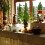 Fontanna z czekoladą i owocowy stół z rzeźbami carvingowymi w Zegrzu