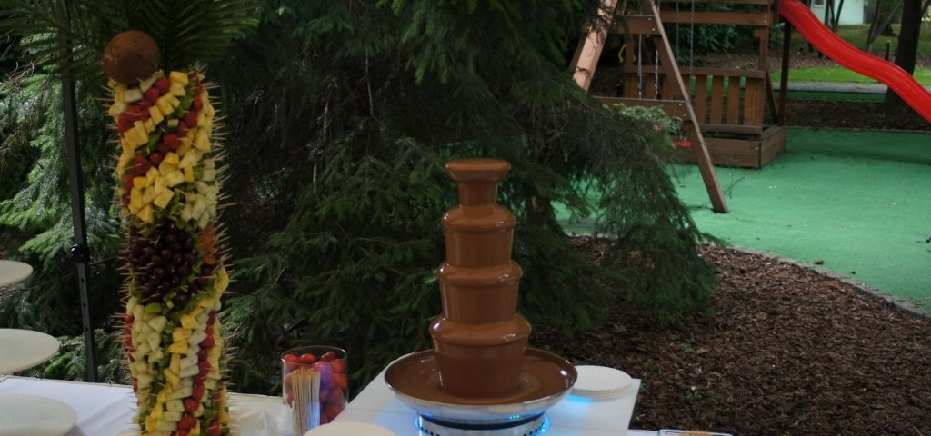 Fontanna z czekoladą i palma z owoców