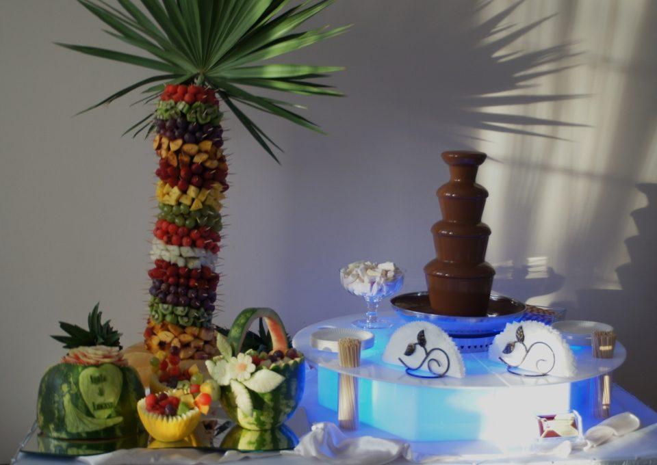 Fontanna czekoladowa, palma owocowa, bufet owocowy i carving