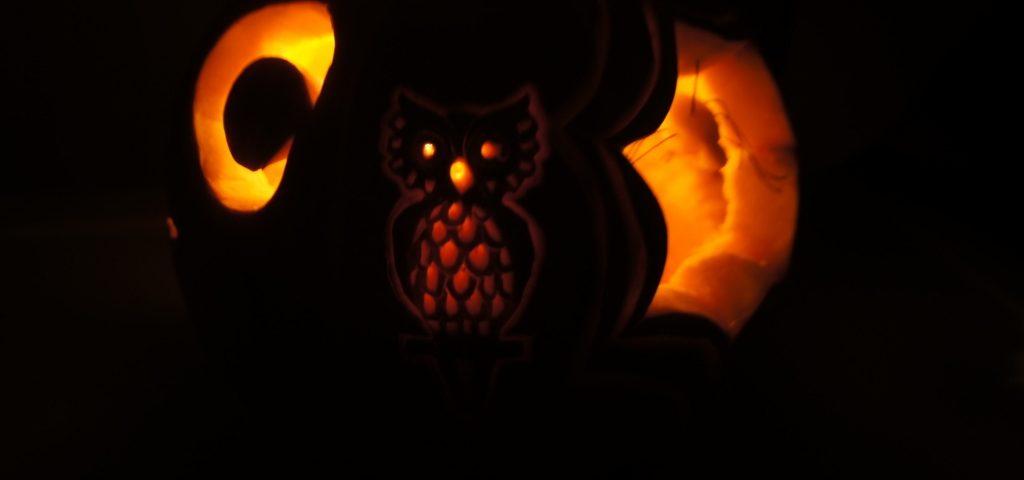 Carving-sowa w dyni - lampion