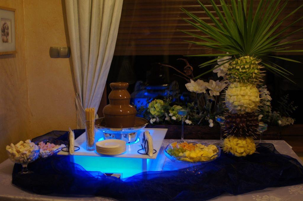Fontanna czekoladowa i palma owocowa - Restauracja Aviola Swarzędz