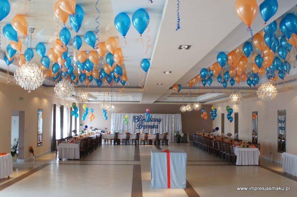 Dekoracje sali balonami z helem, Dom Weselny Bajka