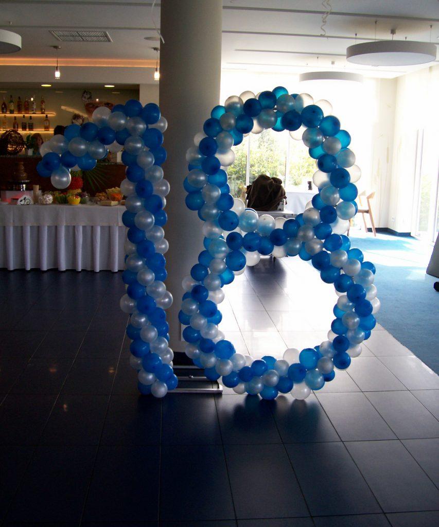 Dekoracje balonowe, cyfry balonowe, balony z helem