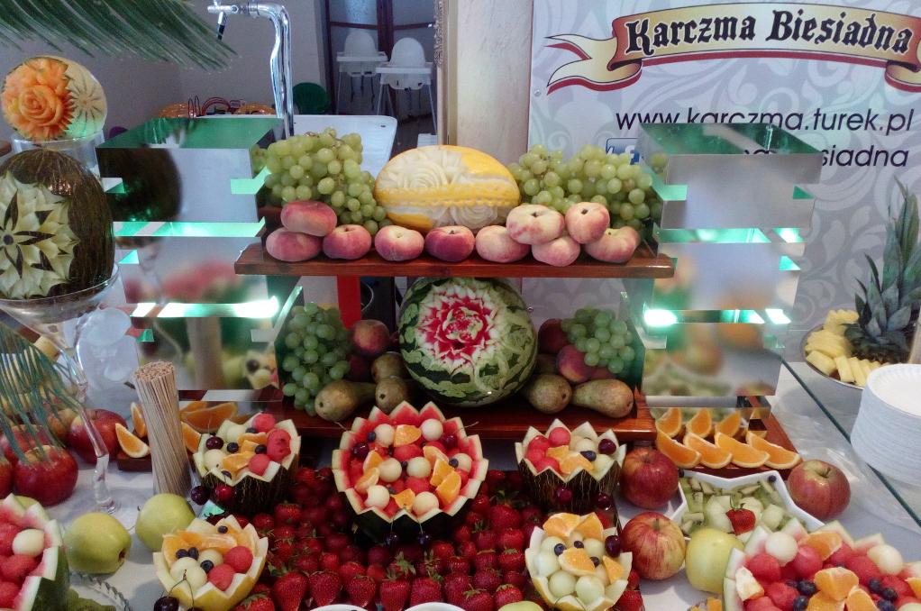 Bufet owocowy, dekoracje owocowe, carving Turek
