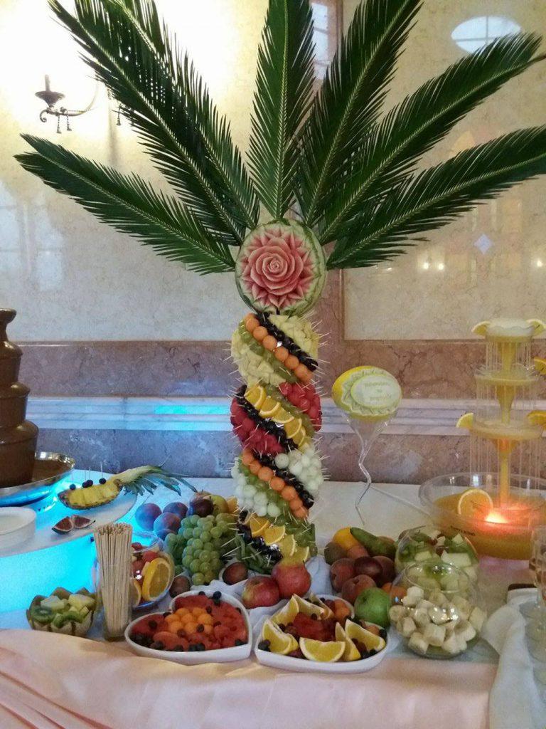 Palmy owocowe, dekoracje owocowe Pałac Bursztynowy Włocławek