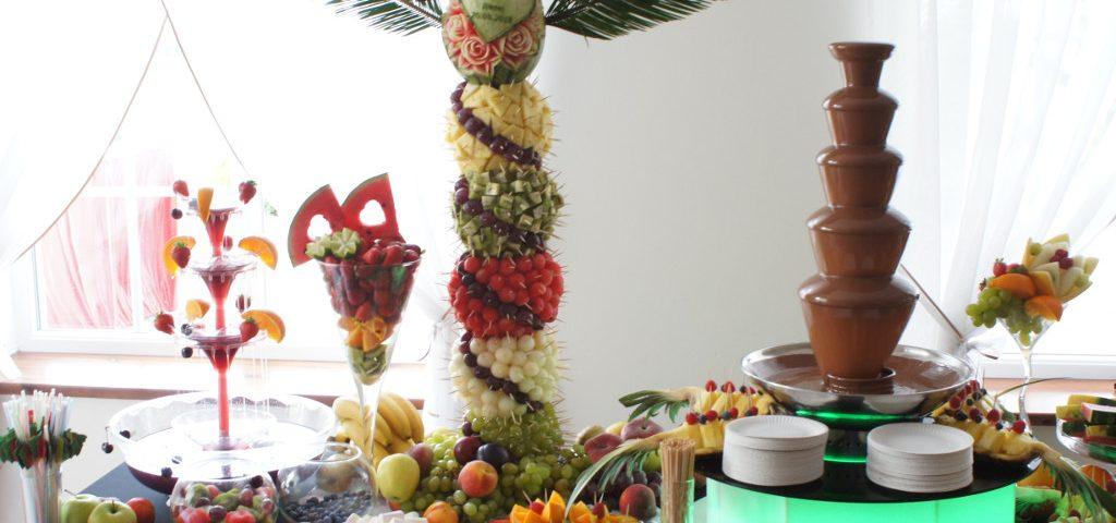 Fontanna czekoladowa, fontanna alkoholowa, dekoracje owocowe, carving, Słupca, Truek, Koło, Kłodawa
