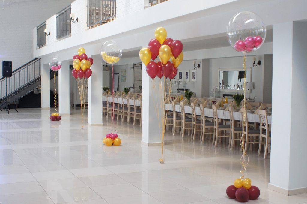 balonowy wystrój sal, balony z helem na 18-stkę, wesele, jubileusz, roczek Koło, Konin, Turek, Kłodawa