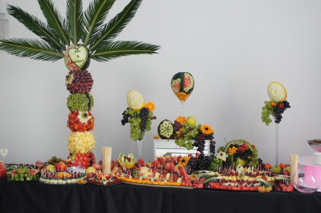 Palma owocowa, dekoracje owocowe, carving Ligrana Palace