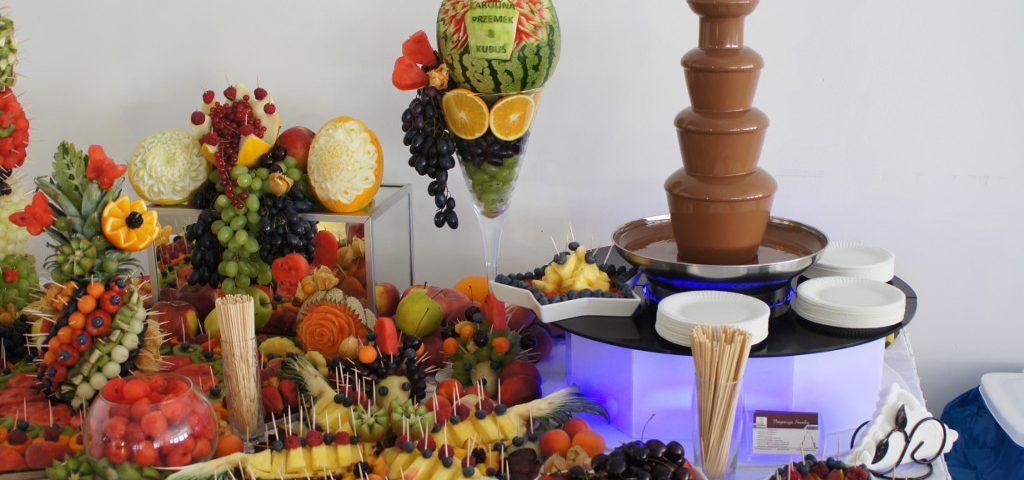 fontanna czekoladowa, dekoracje owocowe, carving Koło, Turek, Malanów, Hacjenda