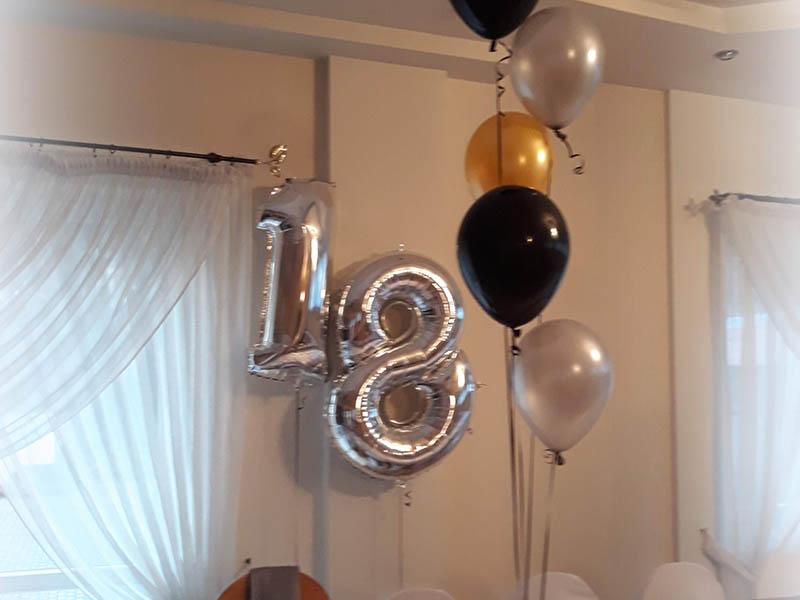 Balon cyfry 18 balon na imprezie osiemnastkowej