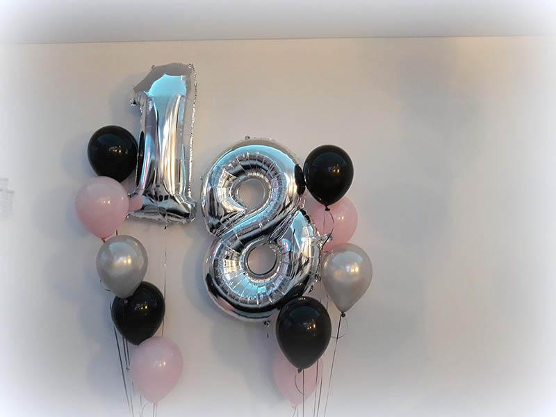 cyfry balonowe 18, balony cyfry z helem, dekoracje balonowe na 18skę