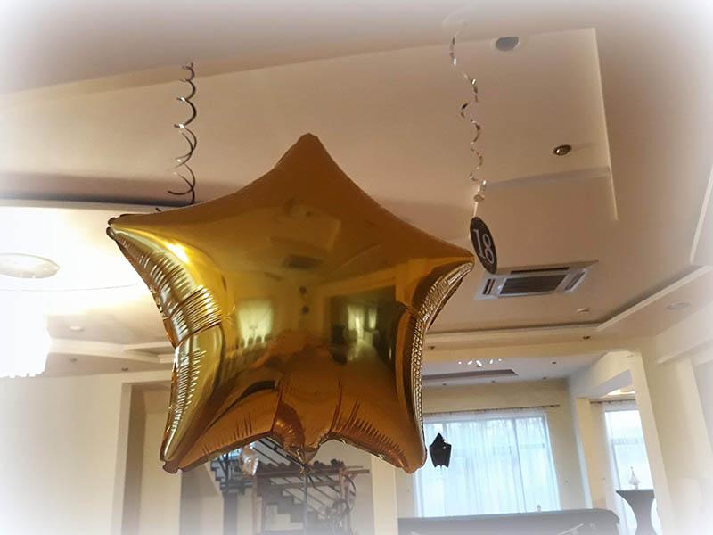 Dekoracje balonowe złota gwiazda
