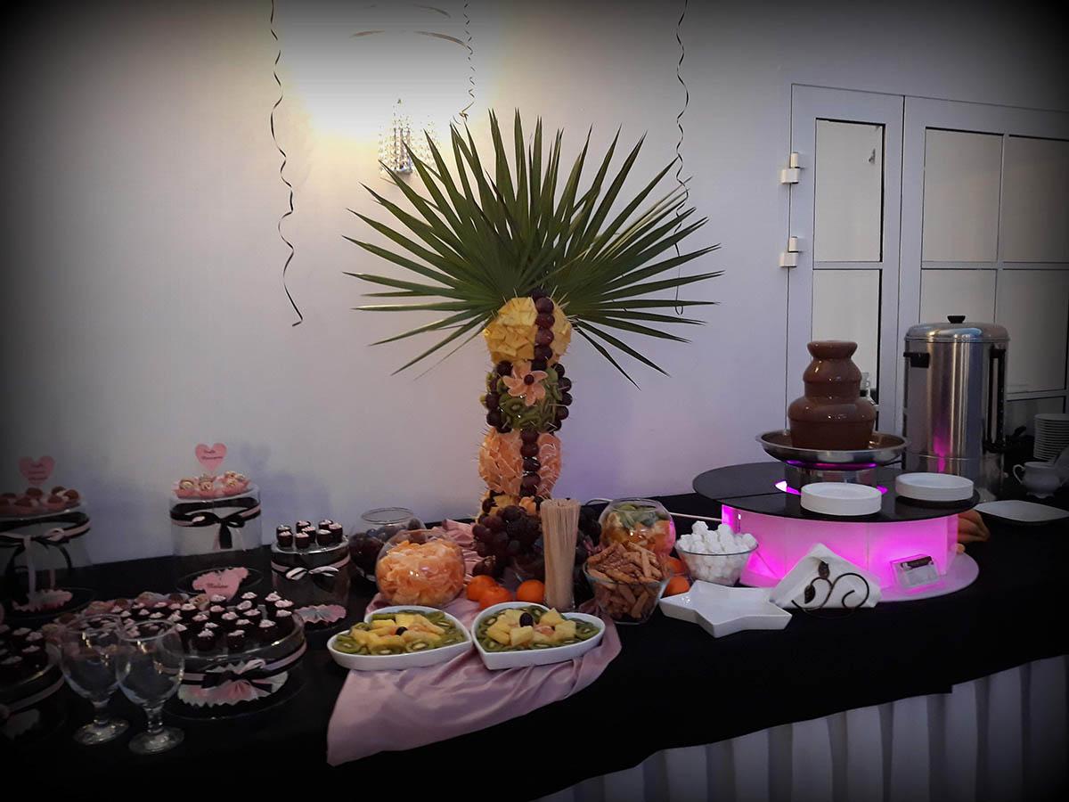 fontanna czekoladowa, palma owocowa, słodki stół, candy-bar, fontanna alkoholowa