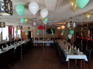 balony na Komunię, dekoracje balonowe, balony z helem Restauracja Klisza Wola Grzymkowa, turek, Łódź, koło, kalisz