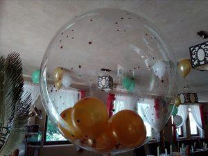 balony na Komunię, dekoracje balonowe, balony z helem pod sufitem Restauracja Klisza Wola Grzymkowa, turek, Łódź, koło, kalisz
