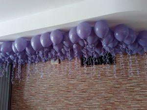 balony na wesele, dekoracje balonowe, balony z helem pod sufitem sala Bernardynka, turek, Łódź, koło, kalisz
