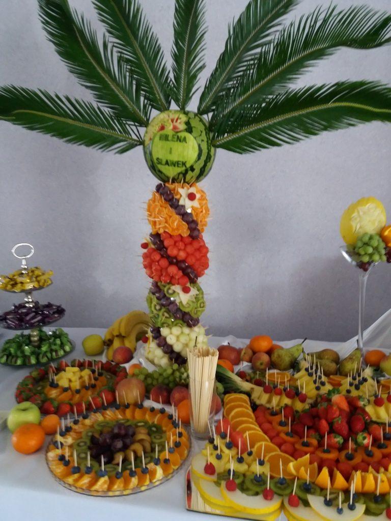 palma owocowa, fontanna czekoladowa, stół owocowy, dekoracje owocowe, fruit carving Kleczew, Konin, Turek,