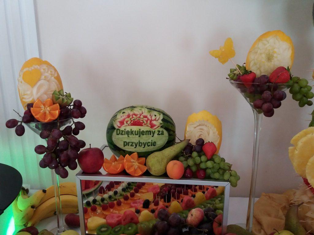 dekoracje owocowe fruit carving, fruit bar, Biały Pałac Konstantynów Łódzki