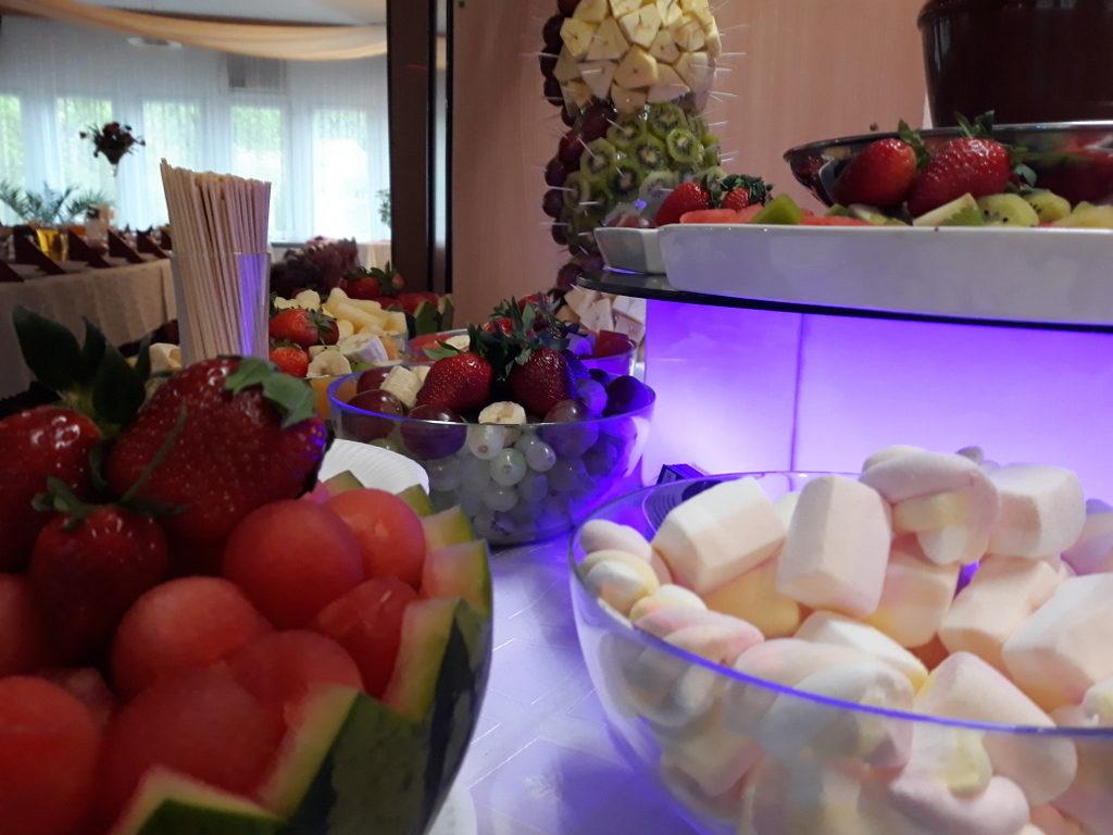 fontanna czekoladowa, palma owocowa, Restauracja Relax w Śremie