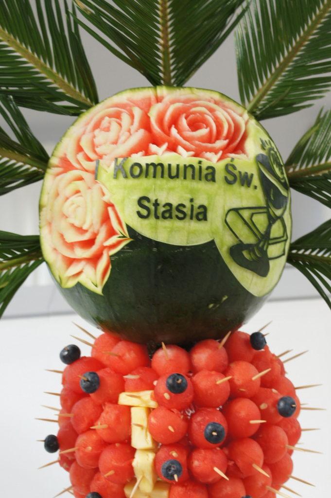 palma owocowa, dekoracje owocowe, fruit carving, fotanna czekoladowa Biały Fortepian Koło
