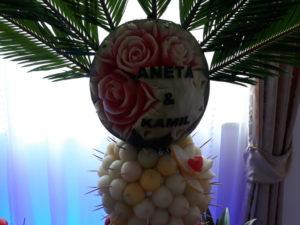 palma owocowa, fruit carving, stół z owocami, fruit bar Zajazd Europejski