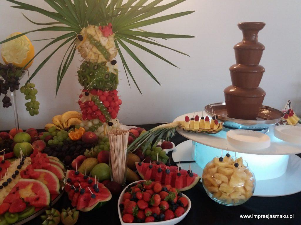 fontanna czekoladowa, dekoracje owocowe, fruit carving, stół owocowy, fruit bar, palma owocowa, Warszawa, Łódź, Turek, Konin, Kalisz