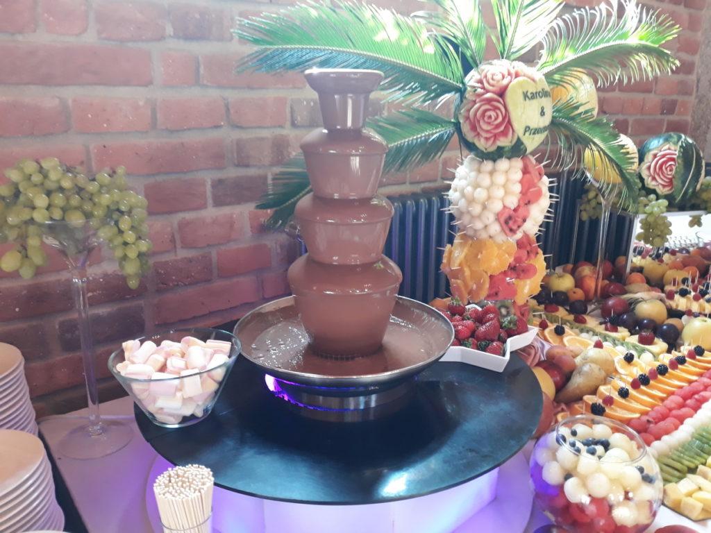 fontanna czekoladowa, dekoracje owocowe, stół z owocami, fruit bar, fruit carving, Łódź, Warszawa, Poznań