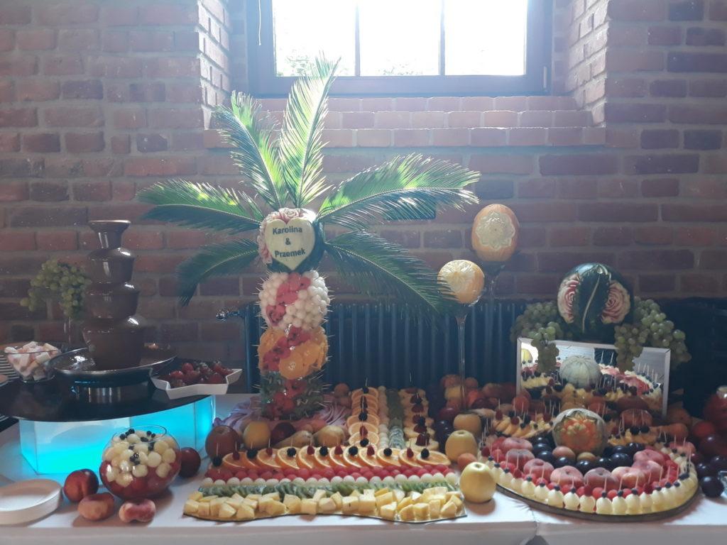 fontanna czekoladowa, stół owcwy, fruit carving, fruit bar, palma owocowa Zamek Topacz Ślęza k. Wrocławia,