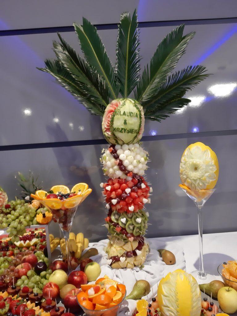 palma owocowa, dekoracje owocowe, fruit carving, fruit bar, stół owocowy