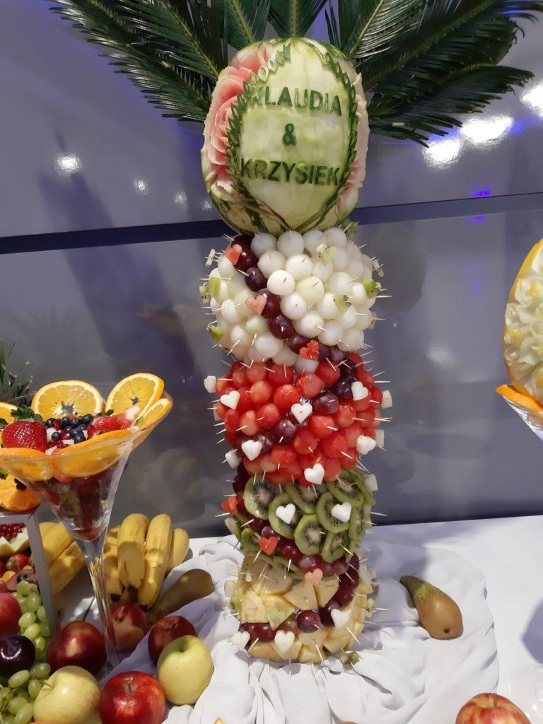 palma owocowa, stół owocowy, fontanna czekoladowa, fruit carving, dekoracje owocowe Konin, Turek, Słupca, Września