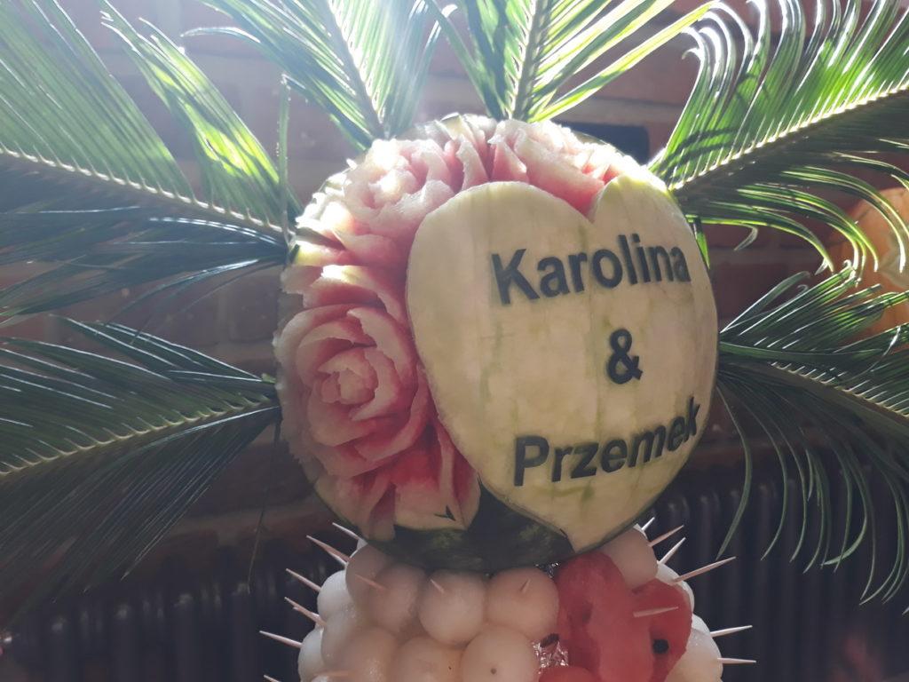 stół owocwy, fruit carving, fruit bar, palma owocowa Zamek Topacz Ślęza k. Wrocławia