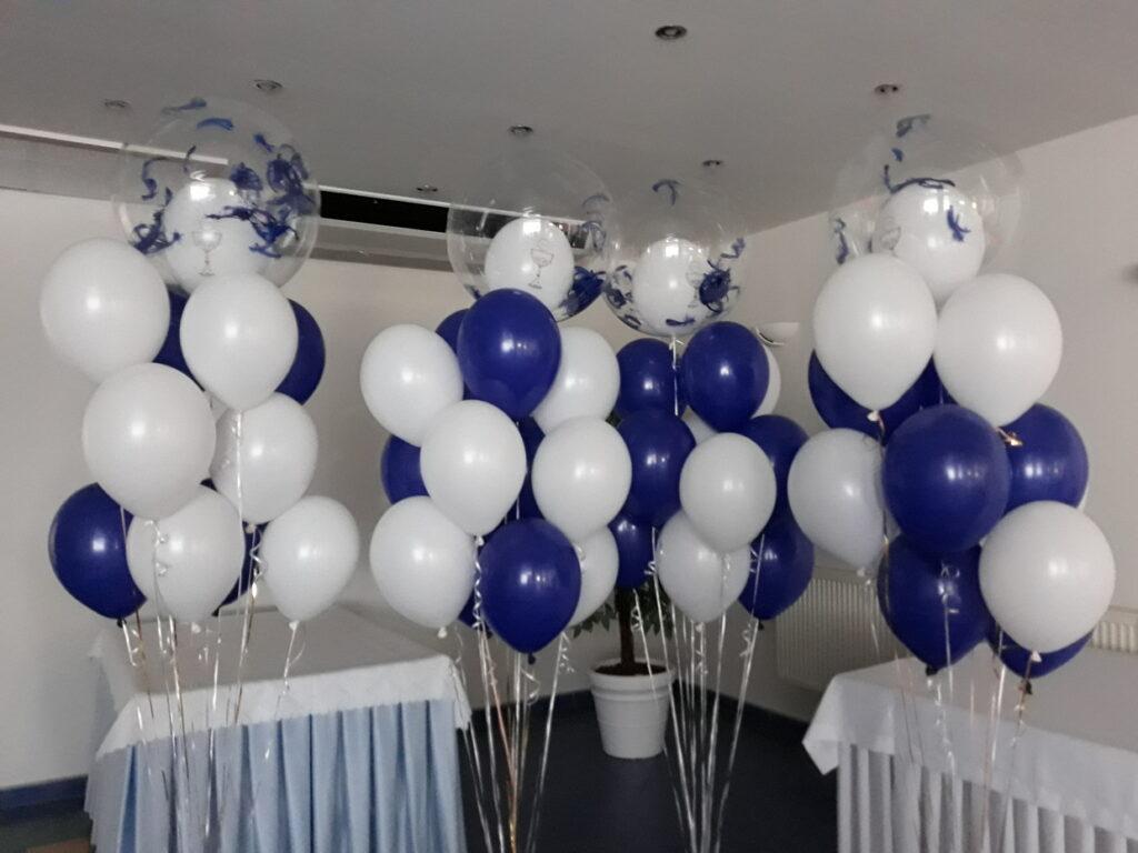 dekoracje balonowe na komunię, balony z helem na komunię, dekoracje na komunię-001
