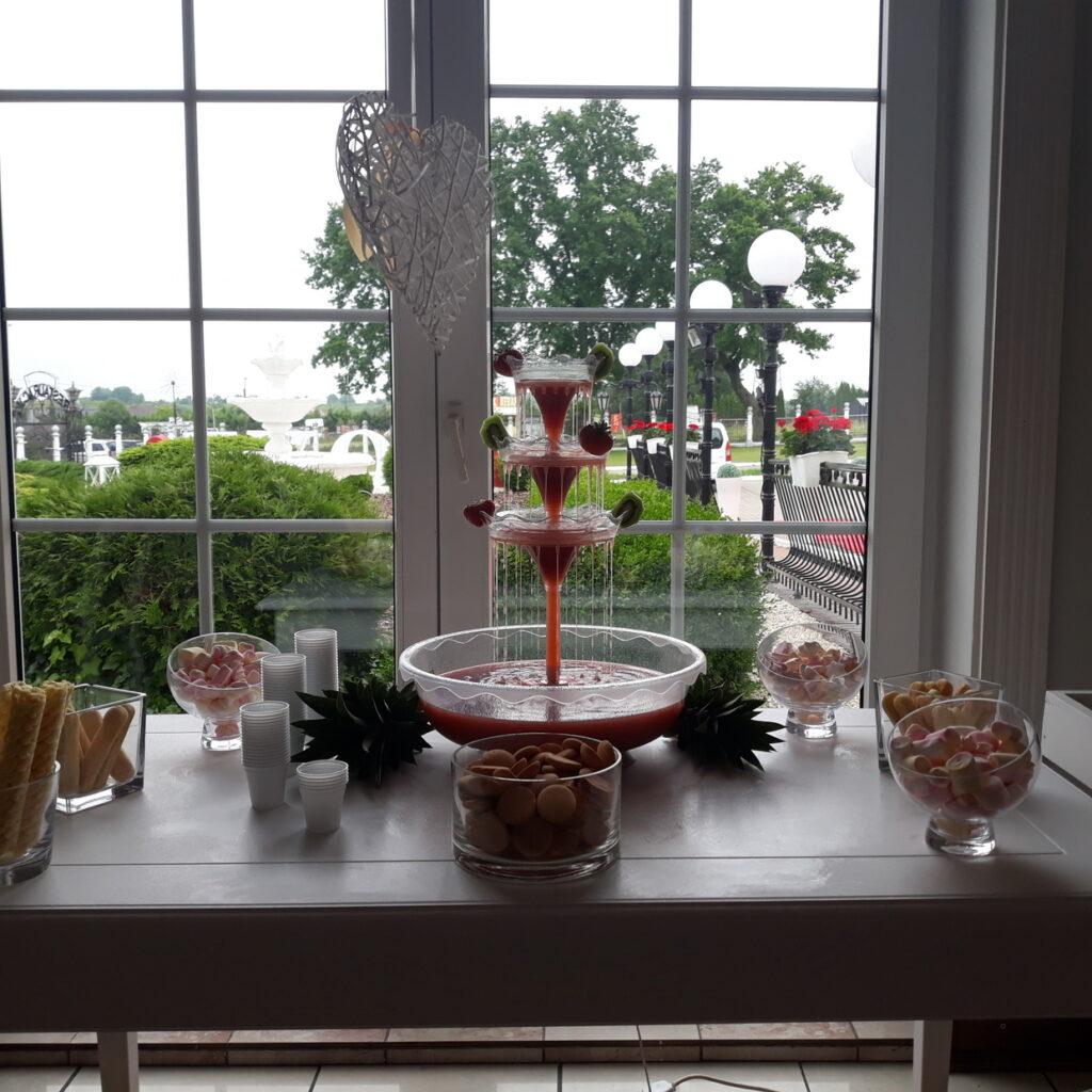 fontanna alkoholowa Carny Tulipan Koszalin, fontanna czekoladowa, owoce na wesele, fontanna z czekolady,
