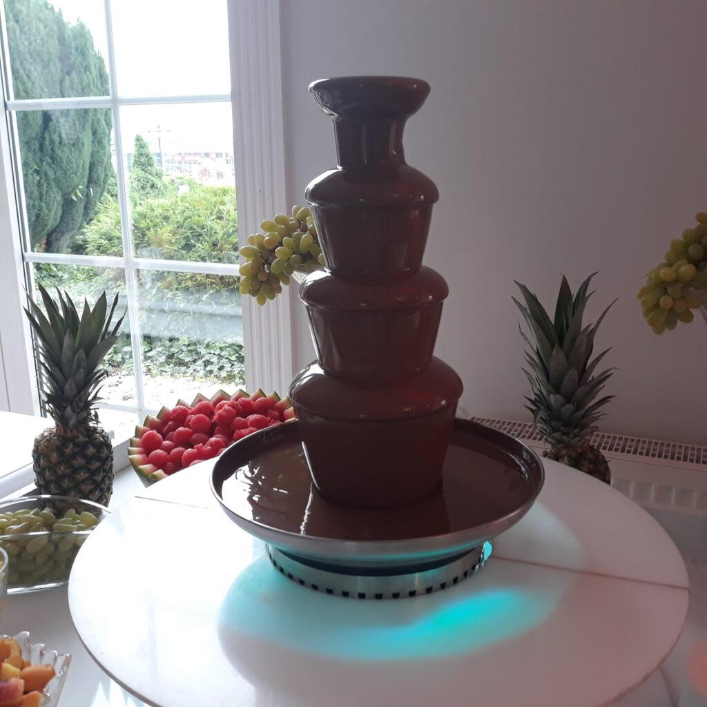 fontanna z czekolady, fontanna alkoholowa Carny Tulipan Koszalin, fontanna czekoladowa, owoce na wesele,