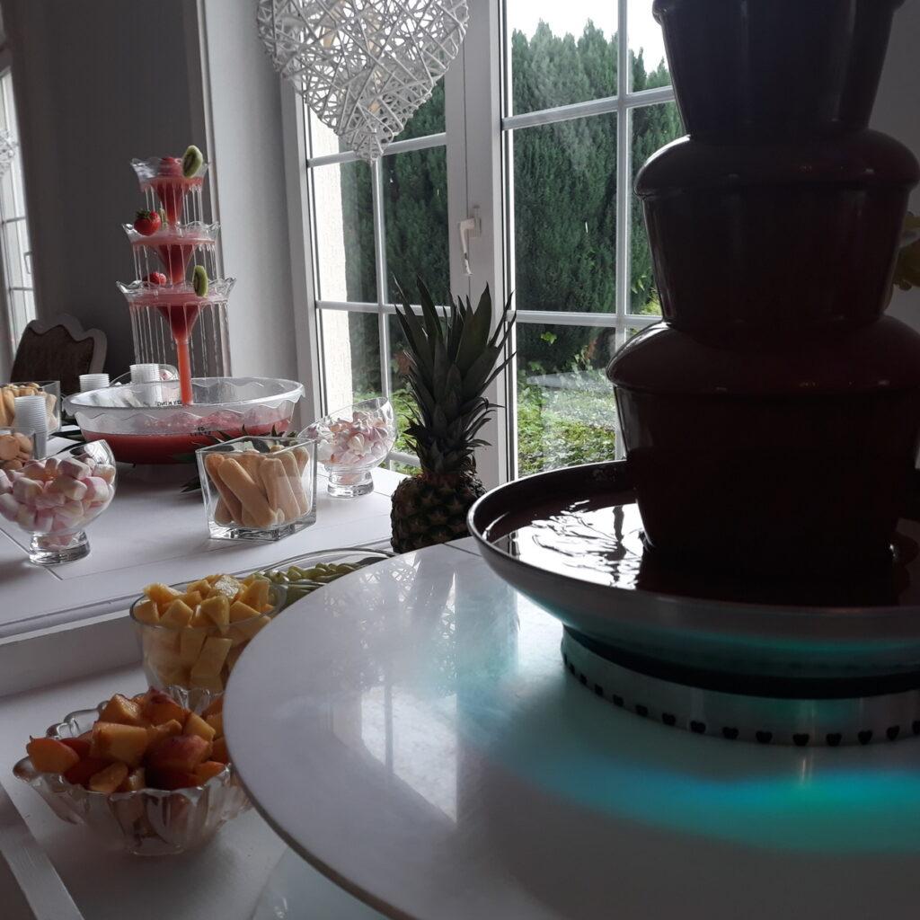 fontanna z czekolady, fontanna alkoholowa Carny Tulipan Koszalin, owoce na wesele, fontanna czekoladowa,