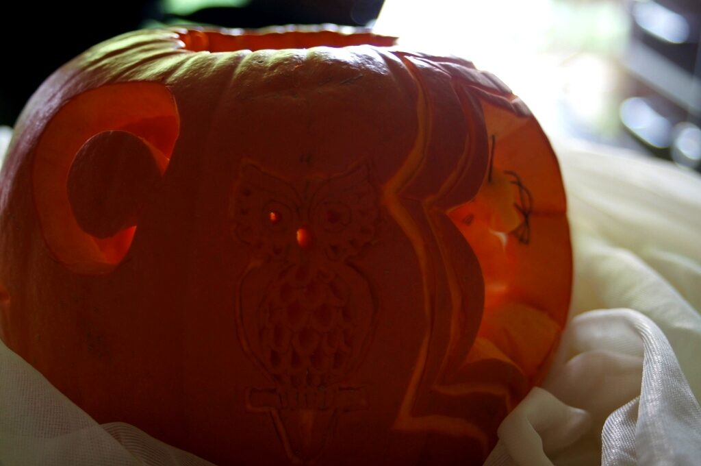 dekoracja halloween, dekoracja w dyni, fruit carving, vegetable carving, food art, halloween decortion,