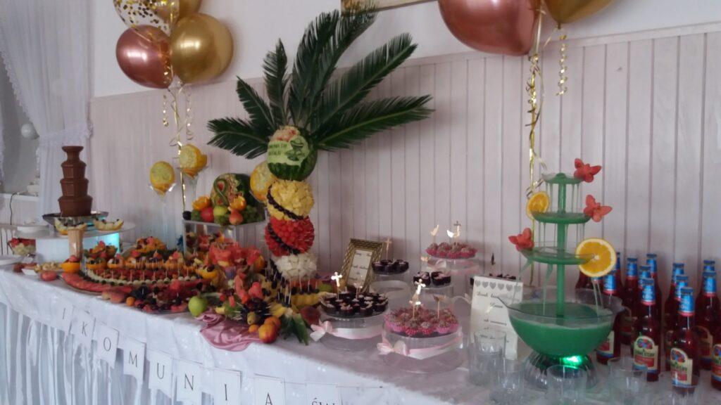 Stół owocowy, fruit carving, fontanna czekoladowa, dekoracje owocowe, fruit bar, bufet owocowy, fontanna alkoholowa