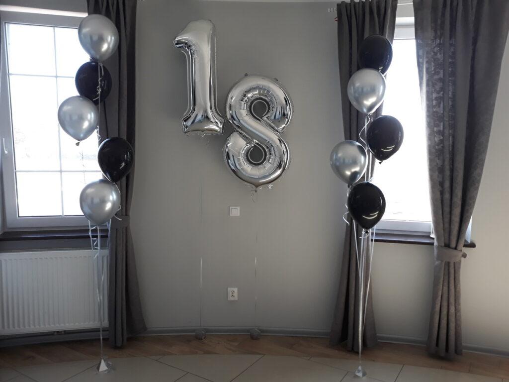 dekoracja balonowa, balony z helem, balony na 18, balony na 18 urodziny, cyfra 18